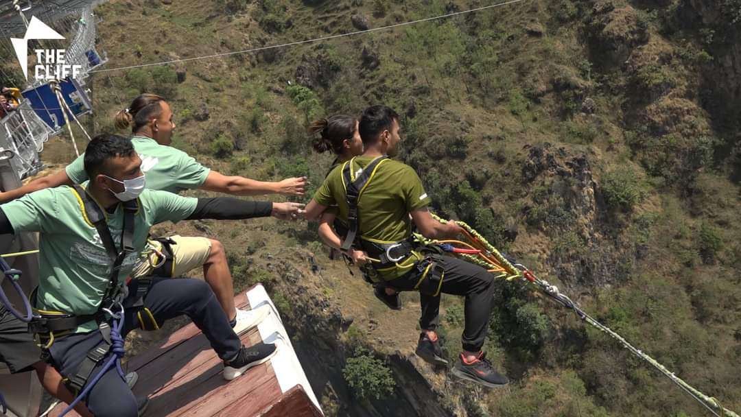 Couple Bungee Jumping in Kushma
